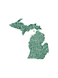 Typographic Michigan Forest Green Premium Giclee Print by  CAPow