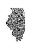 Typographic Illinois Premium Giclee Print by  CAPow