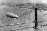 Airship over the Golden Gate Bridge in San Francisco, 1937 Photographic Print by  Scherl