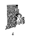 Typographic Rhode Island Premium Giclee Print by  CAPow