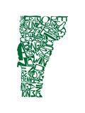 Typographic Vermont Green Premium Giclee Print by  CAPow
