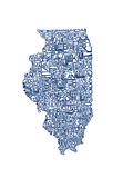 Typographic Illinois Blue Premium Giclee Print by  CAPow