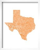 Typographic Texas Orange Posters by  CAPow