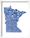 Typographic Minnesota Blue Posters by  CAPow