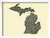 Typographic Michigan Beige Background Prints by  CAPow