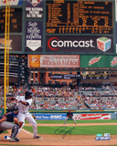Austin Jackson Tigers White Jersey At Bat vs. Indians Autographed Photo (Hand Signed Collectable) Photo
