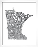 Typographic Minnesota Charcoal Prints by  CAPow