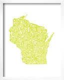 Typographic Wisconsin Chartreus Prints by  CAPow