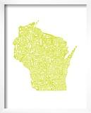 Typographic Wisconsin Chartreus Prints by  CAPow
