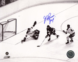 "J.P. Parise Breaking in on Giacomin w/ ""Jeep"" Inscription Photo"