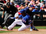Surprise, AZ - March 11: Cleveland Indians v Texas Rangers - Josh hamilton, Julio Borbon Photographic Print by Kevork Djansezian