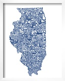 Typographic Illinois Blue Poster by  CAPow