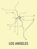 Los Angeles (Light Yellow & Dark Gray) Serigraph by  LinePosters