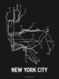 New York City (Black & Pearl White) Serigraph by  Line Posters
