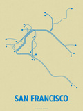 San Francisco (Cement & Blue) Serigraph by  Line Posters
