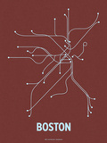 Boston (Maroon &amp; Pale Blue) Serigraph by  Line Posters