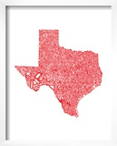 Typographic Texas Red Prints by  CAPow