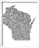 Typographic Wisconsin Charcoal Posters by  CAPow