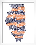 Typographic Illinois Illini Prints by  CAPow