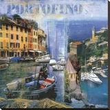 Portofino I Stretched Canvas Print by John Clarke