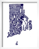 Typographic Rhode Island Navy Print by  CAPow