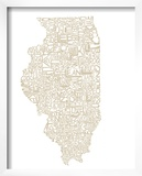 Typographic Illinois Beige Prints by  CAPow