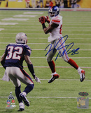 Hakeem Nicks Signed Super Bowl XLVI Jump Catch Vertical Photo Photo