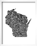 Typographic Wisconsin Art by  CAPow