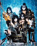Kiss Band Signed Group Pose Aqua graph Autographed Photo (Hand Signed Collectable) Photo