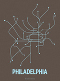 Philadelphia (Charcoal Brown &amp; Light Blue) Serigraph by  Line Posters