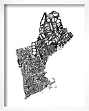 Typographic New England Print by  CAPow