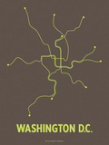 Washington D.C. (Charcoal Brown &amp; Lime) Serigraph by  Line Posters