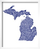 Typographic Michigan Navy Prints by  CAPow