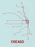 Chicago (Light Blue & Red) Serigraph by  Line Posters