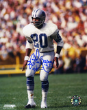 Lem Barney Detroit Lions Action with HOF 92 Inscription Autographed Photo (Hand Signed Collectable) Photo