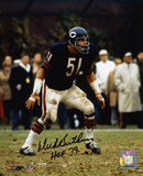 Dick Butkus Chicago Bears - Defensive Stance with HOF 79 Inscription Photo