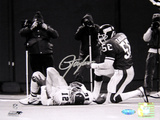 Lawrence Taylor Sack over Randall Cunningham Horizontal B&amp;W Photo