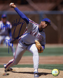 Dwight &quot;Doc&quot; Gooden New York Mets Pitching with Happy Holidays Inscription Photo
