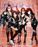 Kiss Band Signed Group Pose Fire graph Photo