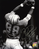 Charlie Sanders Detroit Lions with HOF '07 Inscription Photo