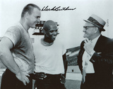 Dick Butkus Chicago Bears Black and White with George Halas and Gale Sayers Photo