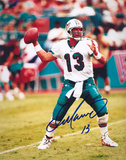 Dan Marino Miami Dolphins - Passing White Jersey Autographed Photo (Hand Signed Collectable) Photo