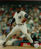 Doc Gooden Yankee Pinstripe Jersey Pitching Autographed Photo (Hand Signed Collectable) Photo