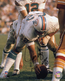 Jim Langer Miami Dolphins with HOF &#39;87 and 17-0 Inscription Photo