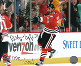 Dustin Byfuglien Chicago Blackhawks with One Goal Inscription Photo