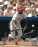 Vince Coleman St. Louis Cardinals with 85 NL ROY Inscription Photo