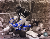 Gale Sayers Chicago Bears Black and White with HOF &#39;77 Inscription Photo