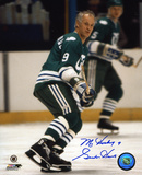 Gordie Howe Hartford Whalers - Waiting for the Puck - with Mr. Hockey 9 Inscription Photo