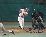 Pete Rose Cincinnati Reds - Record Breaking At Bat with Hit King Inscription Photo