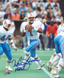 Warren Moon Houston Oilers with HOF Inscription Photo